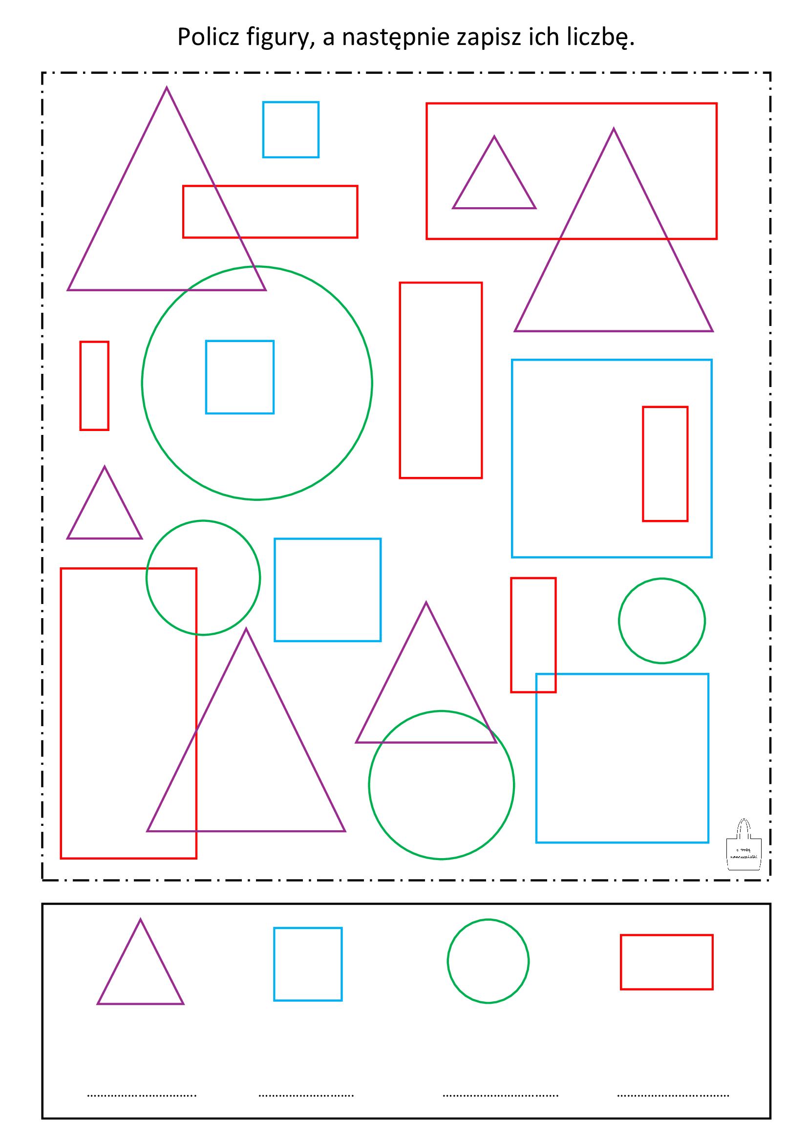 figury geometryczne - policz i zapisz - ztorbynauczycielki